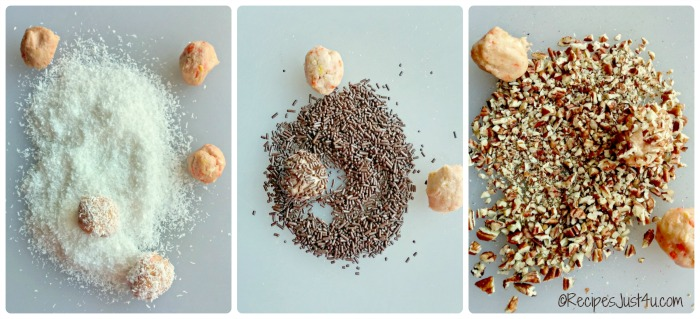 Roll the Oreo Candy corn balls in your choice of coating.