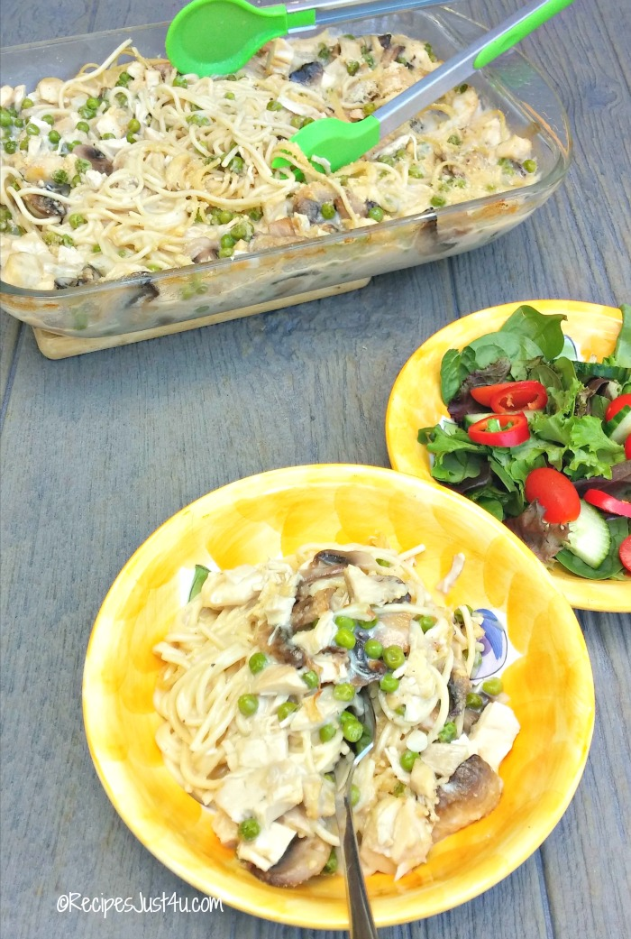 Chicken Tetrazzini with spaghetti and pasta.