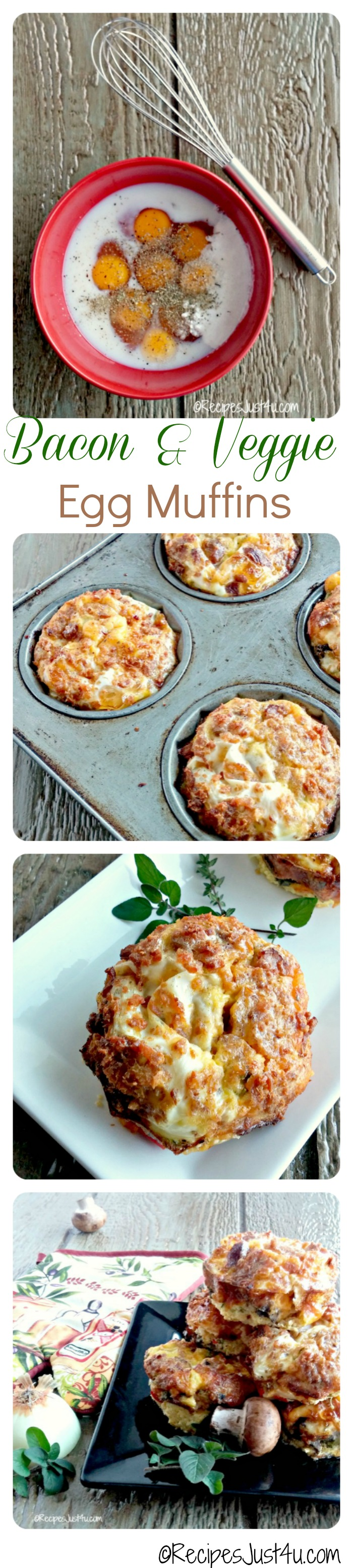 Breakfast Egg muffins are a super easy and fast breakfast option. They are very simple to prepare and make a great breakfast on the go. recipesjust4u.com