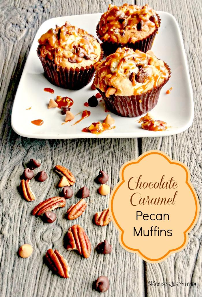 Chocolate chip caramel muffins with butterscotch pecan glaze recipesjust4u.com