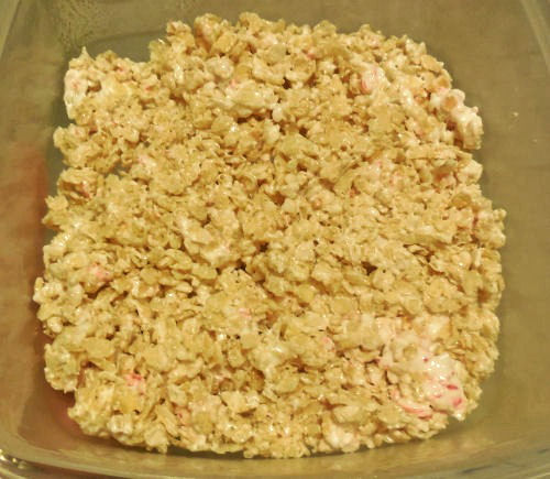 Rice Krispie Batter in the pan