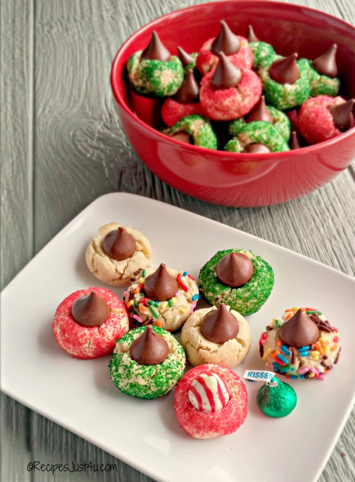 Festive candy kiss cookies