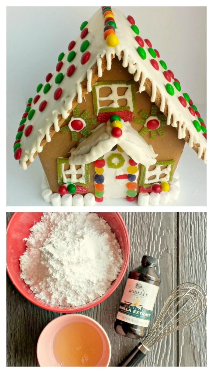 Gingerbread house Royal Icing recipe. Easy and made with just three ingredients