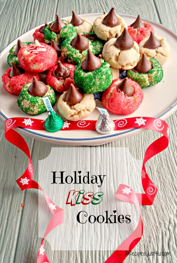 These holiday kiss cookies are the perfect bite of Christmas cheer. They are not too sweet and this version is made without the peanut butter. Serve them plain all year long or decorated for the holidays. recipesjust4u.com