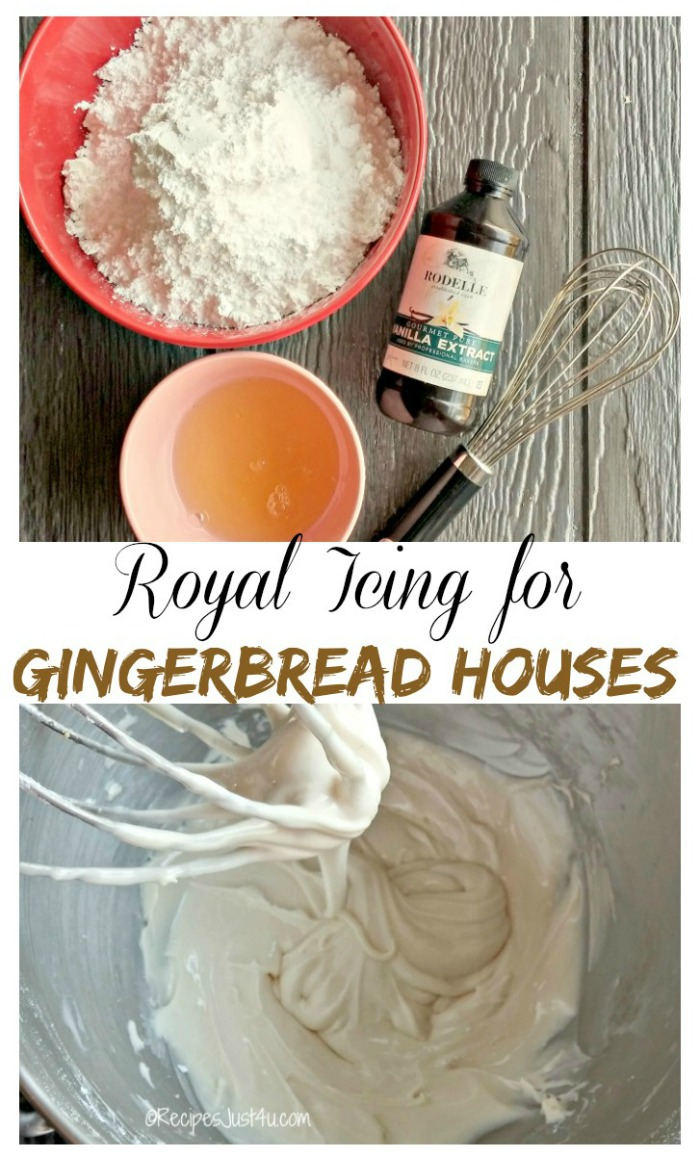 This Royal icing recipe holds gingerbread house pieces together and makes decorating the house a breeze.