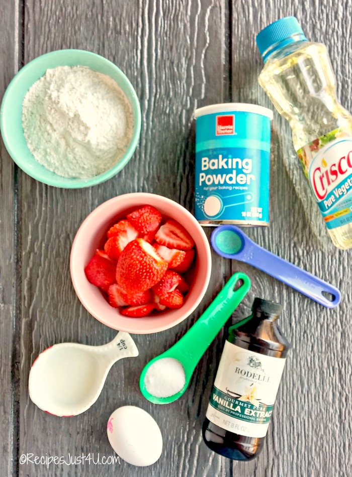 Ingredients for strawberry Belgian waffles