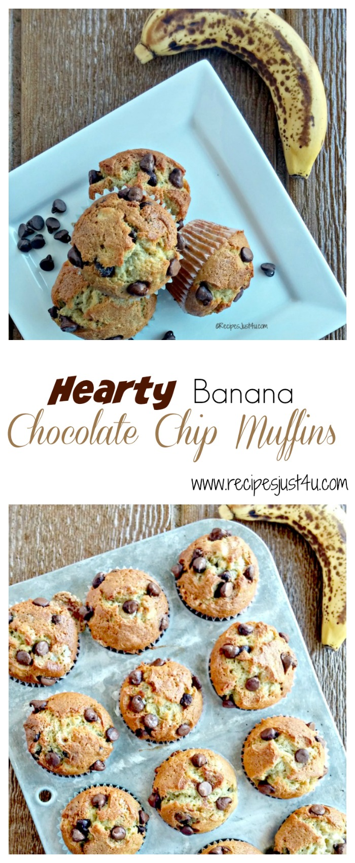 """These hearty banana chocolate chip muffins are the perfect """"on the go"""" breakfast. So easy to make and delicious! recipesjust4u.com"""
