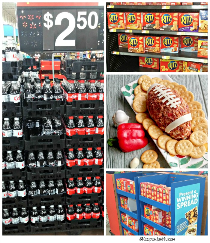 The center aisle of Walmart has a display of both coke zero and Ritz crackers