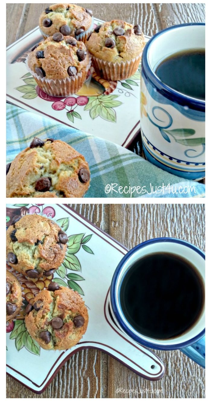These hearty banana chocolate chip muffins go great with your morning coffee! recipesjust4u.com