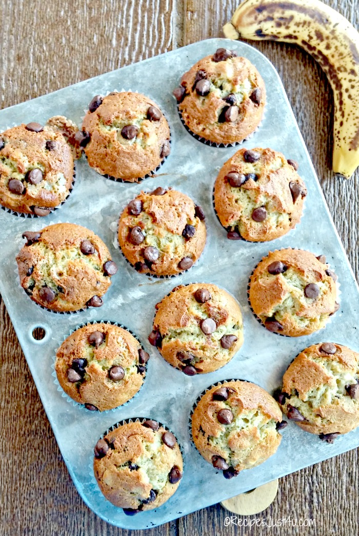 banana chocolate chip muffins fresh from the oven