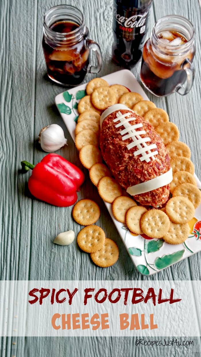 This football cheese ball is spicy and creamy and will make the perfect appetizer for the big game. recipesjust4u.com #ScoreMoreFans #ad