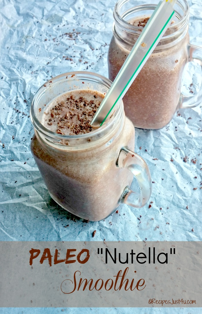 "This Paleo ""Nutella"" smoothie uses coconut milk and fruit for a super delicious morning drink - recipesjust4u.com"