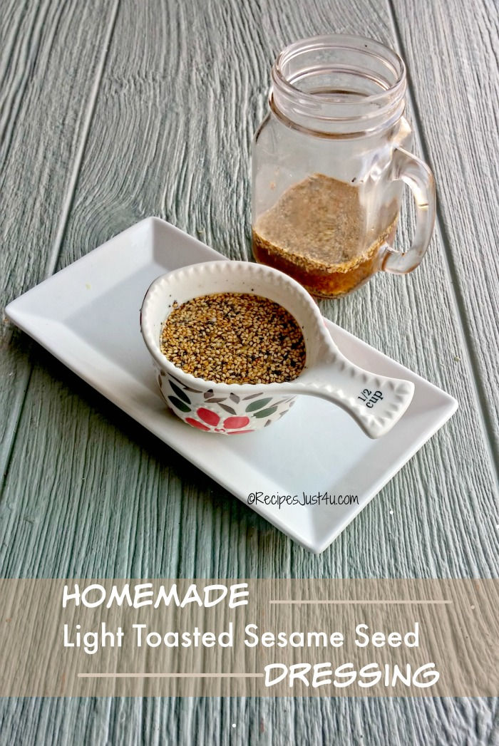 This home made Asian sesame seed dressing is light in calories but very big on flavor. It's a cinch to make and so tasty. recipesjust4u.com