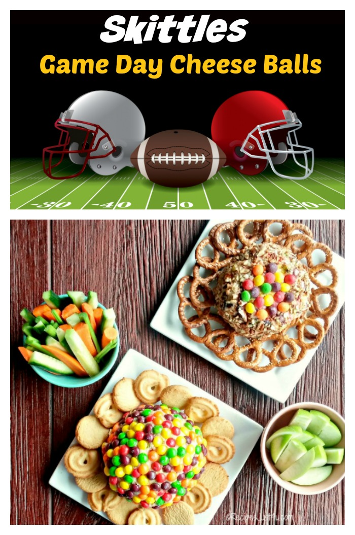 Helmets and Footballs with cheese balls and vegetables and words reading Skittles Game day Cheese Balls.