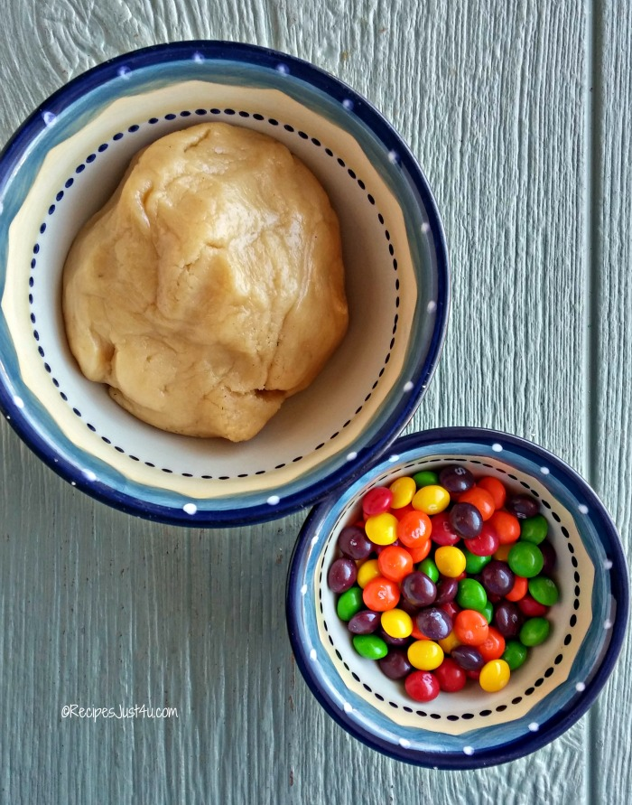 Skittles and sugar cookie dough