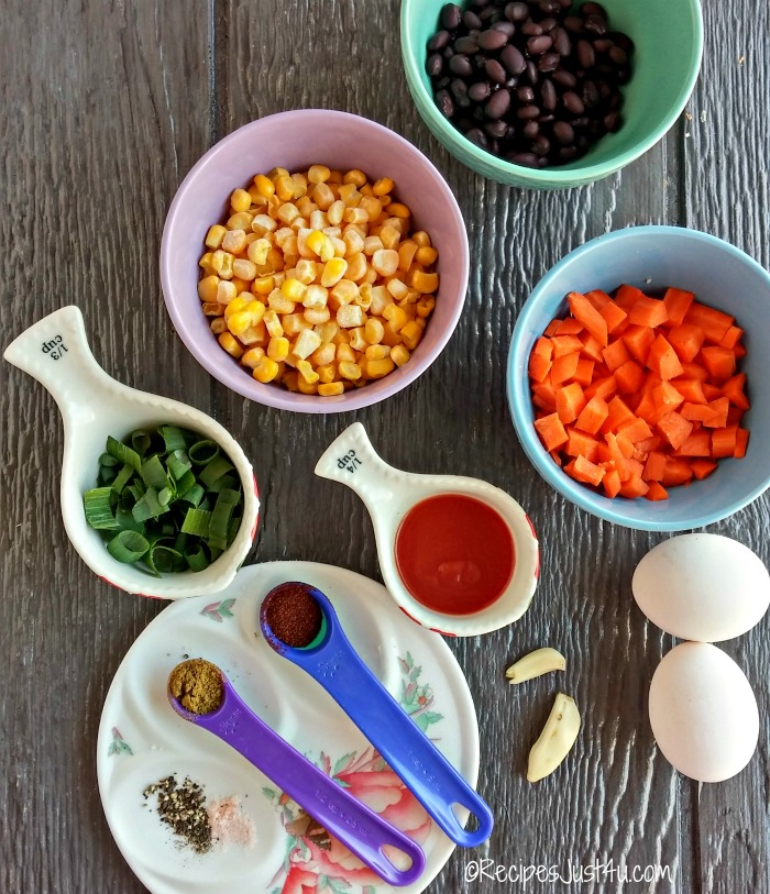 Ingredients for skinny cauliflower Mexican rice