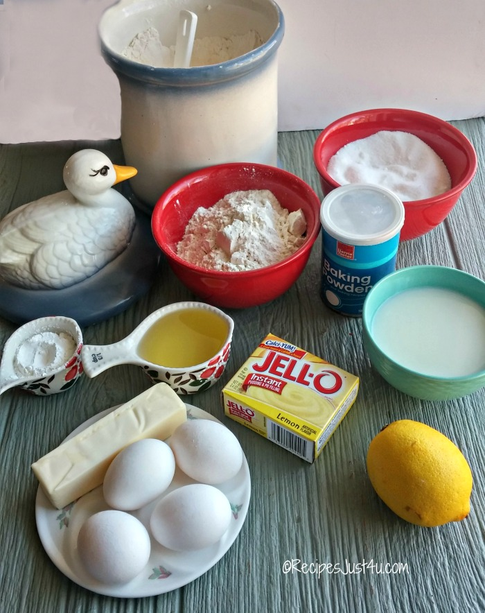 Ingredients for lemon pudding bundt cake