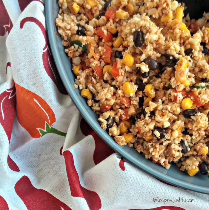 skinny cauliflower Mexican rice close up