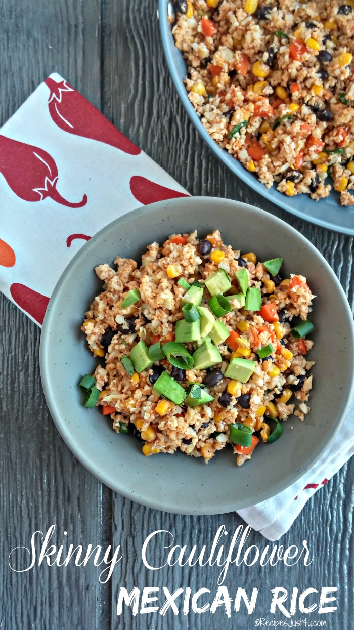 This recipe for skinny cauliflower Mexican rice packs a zesty punch. The dish is low in both calories and carbs and perfect for those who are trying to eat in a more healthy way. recipesjust4u.com