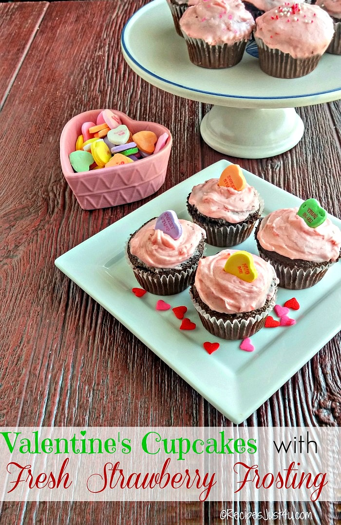 These strawberry buttercream cupcakes are the perfect sweet treat for Valentine's day or any special day.  recipesjust4u.com