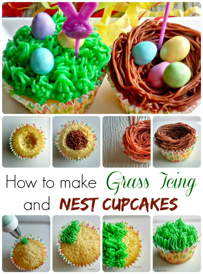 Making Grass icing and nest cupcakes