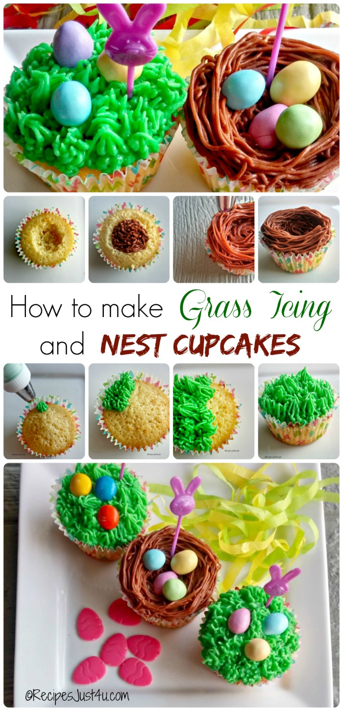 These lemon cupcakes with grass frosting will give a special look to your Easter table. Get the reicpe for the cupcakes and find out how to make grass frosting and also how to make bird's nest cupcakes - recipesjust4u.com #SweeterEaster #ad