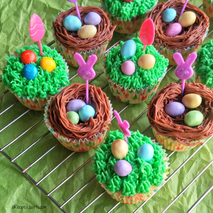 Easter cupcakes with grass and nest frosting and M&M's® pastel peanuts