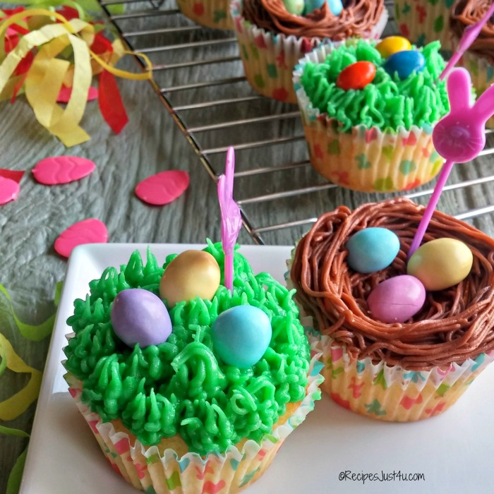 Easter cupcakes with grass frosting and birds nests