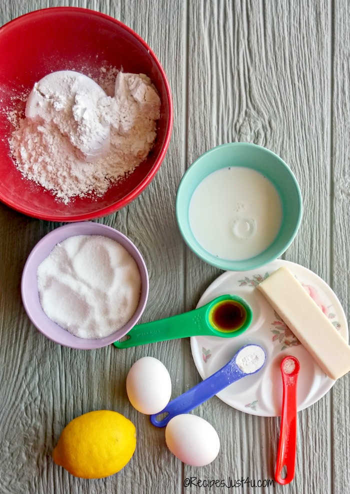 ingredients for lemon cupcakes