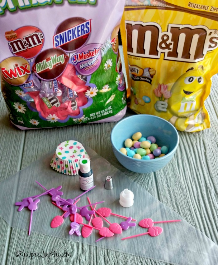 supplies for Easter cupcakes - M&M's® Pastel peanuts and M&M's® Spring Minis Mix are so much fun for making Easter projects