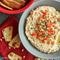 Red pepper and pine nut hummus