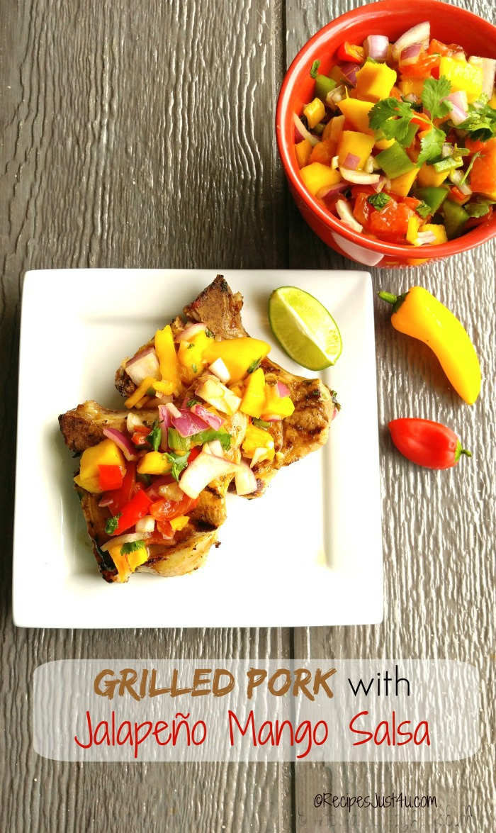 This Grilled Pork with mango salsa is a spicy and fruity combination that just can't be beat. recipesjust4u.com #ad #AllNaturalPork