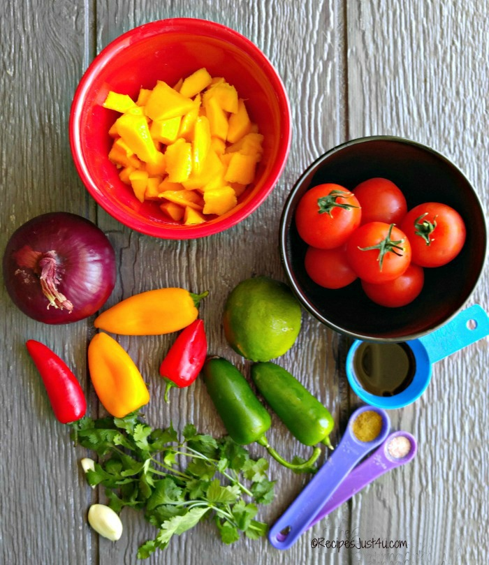 Ingredients for the mango salsa