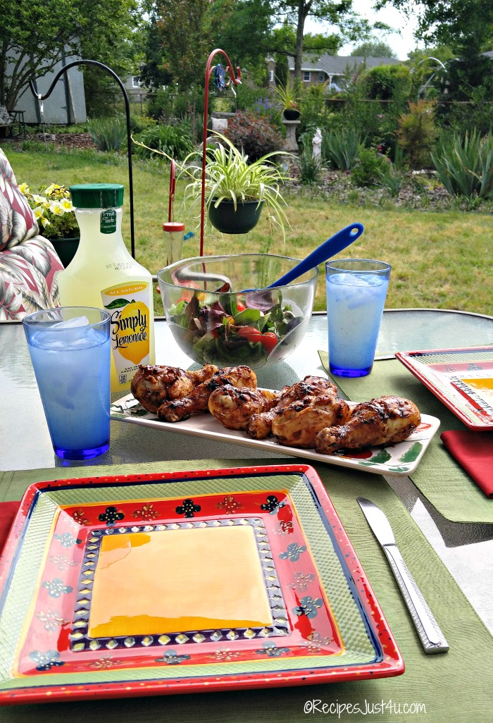 Lemonade Grilled Chicken Legs BBQ table setting