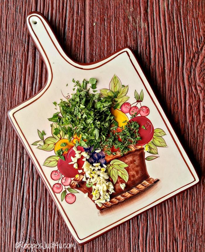 chopped fresh herbs and garlic