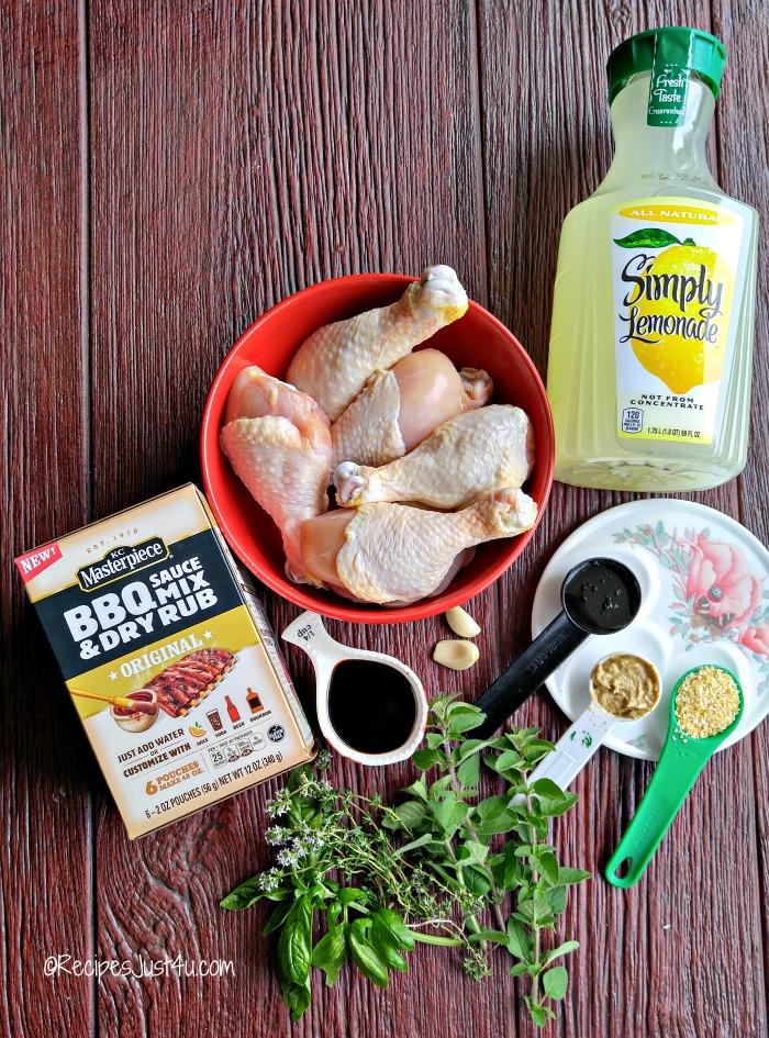 Ingredients for lemonade grilled chicken legs