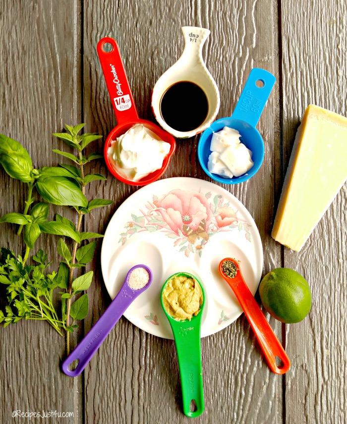Ingredients for parmesan herb dressing