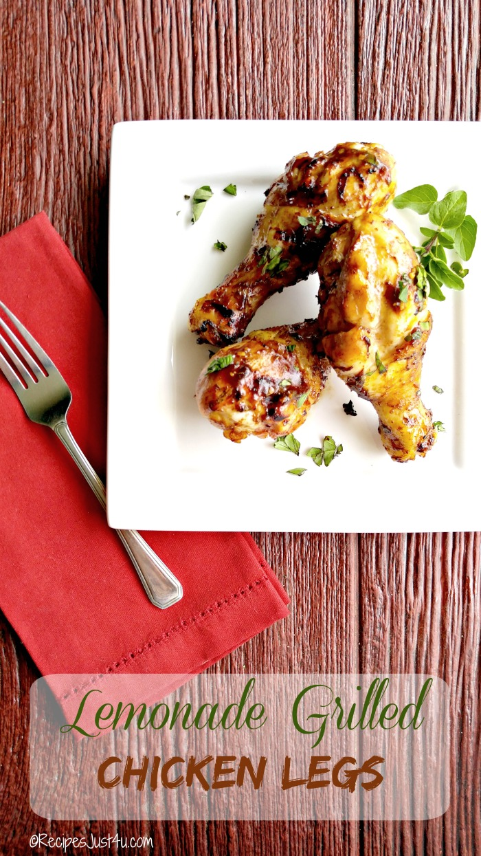 These lemonade grilled chicken legs have the most amazing flavor. They are slow grilled on a BBQ to perfection and the meat just falls off the bone. #BestSummerBBQ #ad