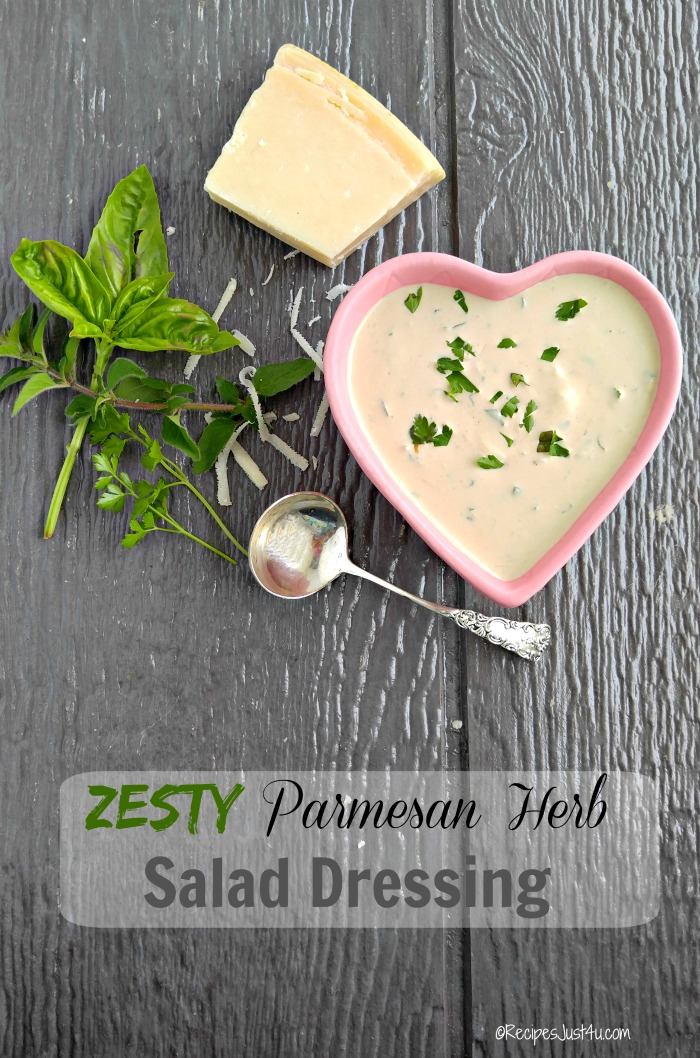 This Parmesan Herb Dressing has a zesty and creamy taste that will really enhance the flavor of your salad greens - recipesjust4u.com #ad