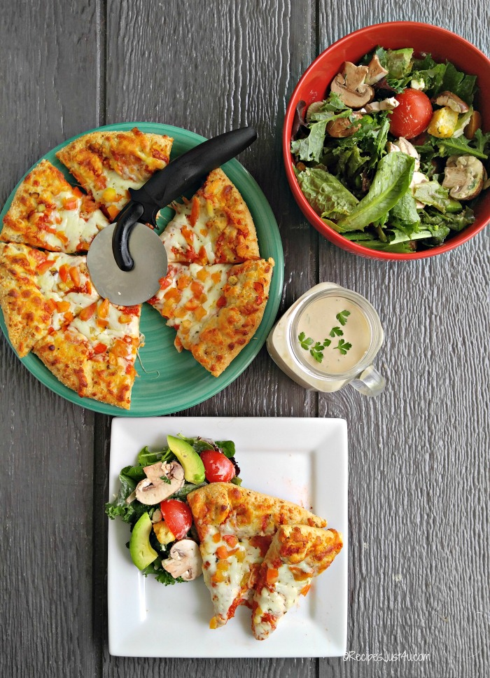 PIzza salad and Parmesan Herb Dressing