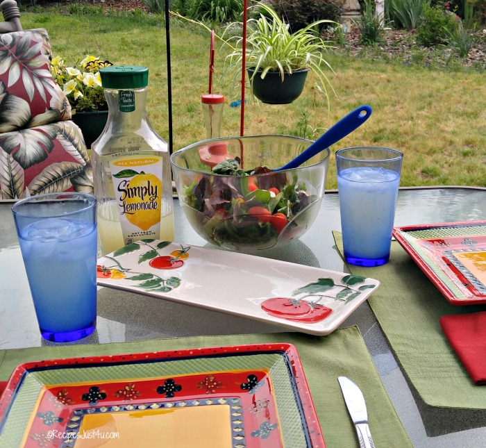 Patio table setting with lemonade