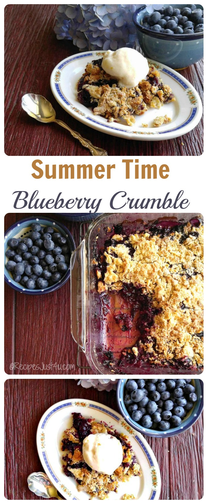 This delicious blueberry crumble is the perfect summer time comfort food treat. It is so easy to make and just scrumptious - recipesjust4u.com