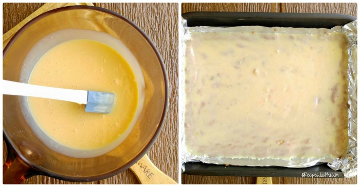 Heat the sweetened condensed milk and butter and spread it over the base