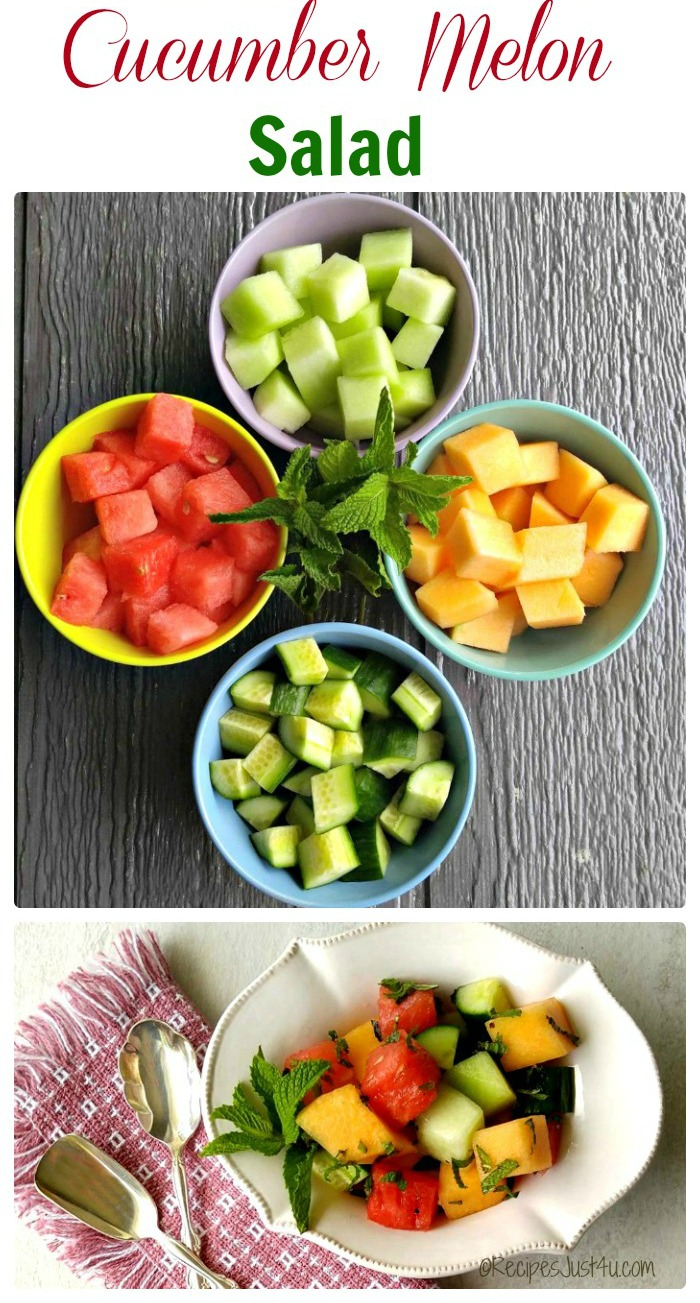 Cucumber Melon Salad - Perfect side dish for summer barbecues and pot luck dinners