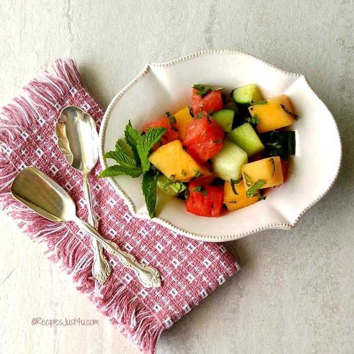 Refreshing cucumber melon salad