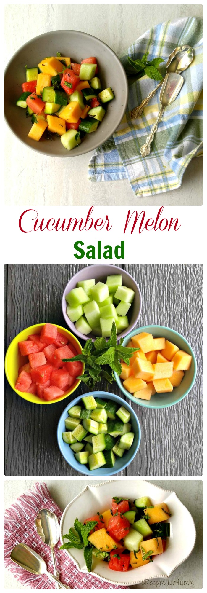 This refreshing cucumber melon salad is the perfect side dish to serve for those summer time days when the heat makes cooking in the kitchen hard to do. recipesjust4u.com