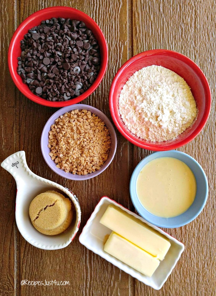 Ingredients for Heath English toffee bars