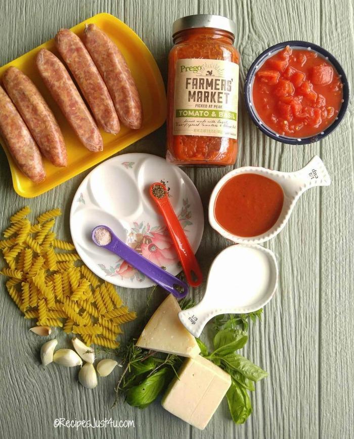 Ingredients for one pot sausage rotini bake