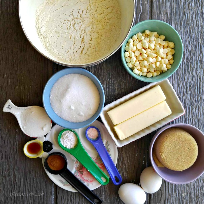 Ingredients for white chocolate snickerdoodle blondie bars