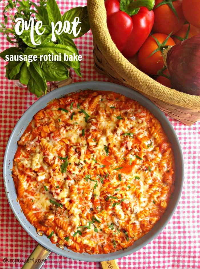 One pot sausage rotini bake